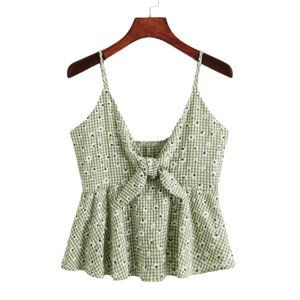 Cute Green Gingham Daisy Tie Up Floral Top MEDIUM